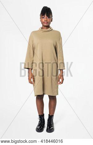 Woman in long sleeve dress casual wear apparel full body