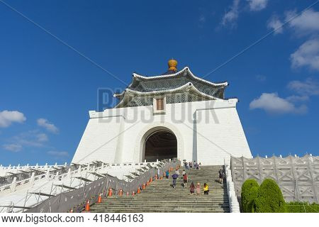 Taipei, Taiwan - Aug 6,2018 : People Walking Around Chiang Kai-shek Memorial Hall On August 6,2018 I