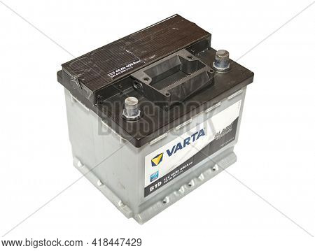 Budapest, Hungary - Circa 2020: 12 volt starter battery of a car made by Varta, a German manufacturer of all kind of batteries