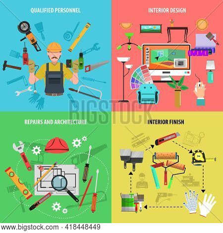 Interior Design Concept Set With Repairs And Architecture Qualified Personnel Flat Icons Isolated Ve