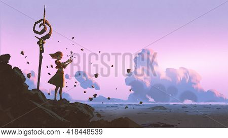 Witch Girl Cast Spells With Magic Power, Digital Art Style, Illustration Painting