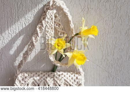 Handmade Macrame Bag  On The Light Wall. Eco Friendly Natural Macrame Cotton Bag. Hobby Knitting Han