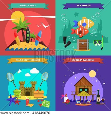 Beach Design Concept Set With Sea Voyage Flat Icons Isolated Vector Illustration