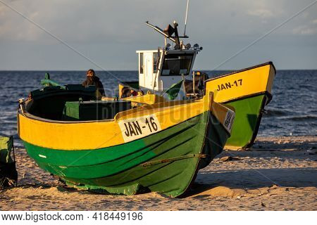 Jantar, Poland - September 7, 2020: Colorful Fishing Boats On The Beach By The Seaside In Jantar, Po