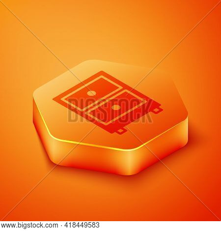Isometric Drawer With Documents Icon Isolated On Orange Background. Archive Papers Drawer. File Cabi