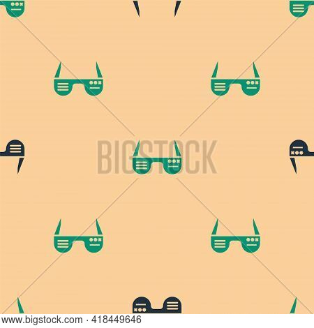 Green And Black Smart Glasses Mounted On Spectacles Icon Isolated Seamless Pattern On Beige Backgrou