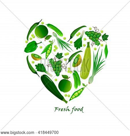 Card With Fresh Fruits And Vegetables - Peppers And Cucumber, Green Peas And Onions, Apples And Grap