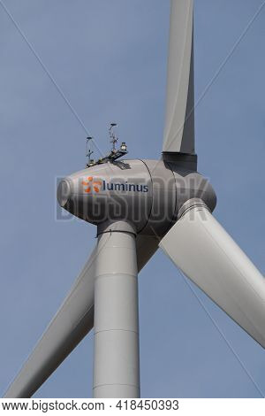 Sint Gillis Waas, Belgium, April 24, 2021, Windmill Of The Company Luminus, An Important Electricity
