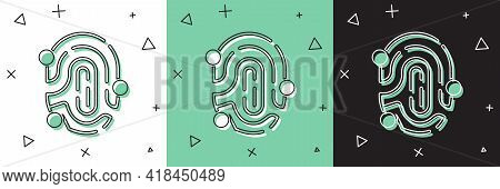 Set Fingerprint Icon Isolated On White And Green, Black Background. Id App Icon. Identification Sign