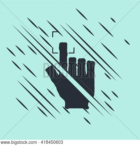 Black Fingerprint Icon Isolated On Green Background. Id App Icon. Identification Sign. Touch Id. Gli