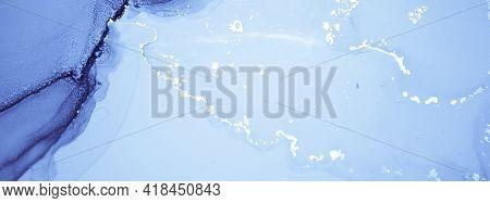 Navy Ink Painting. Art Flow Wallpaper. Blue Marble Texture. Ink Paint. Light Geode Art. Winter Backg