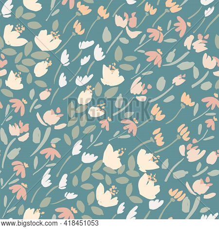 Gone With The Flowers Seamless Vector Pattern. A Mix Of Little Solid Flowers Swaying In The Wind Dia