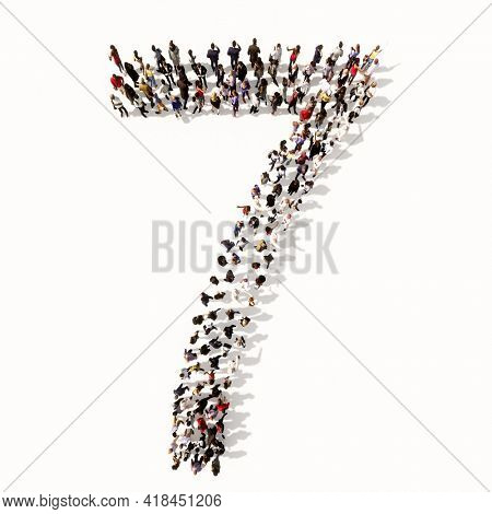 Concept or conceptual large community of people forming the font 7.  3d illustration metaphor for unity and diversity, humanitarian, teamwork, cooperation, education, friendship and community