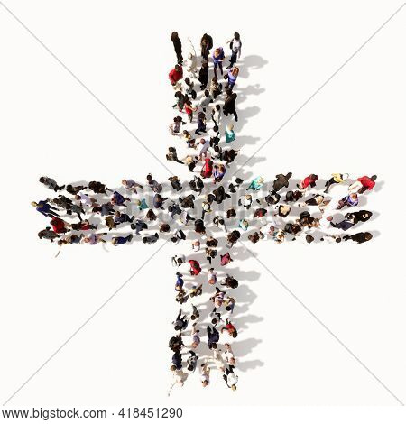 Concept or conceptual large community of people forming the + font. 3d illustration metaphor for unity and diversity, humanitarian, teamwork, cooperation, education, friendship and community