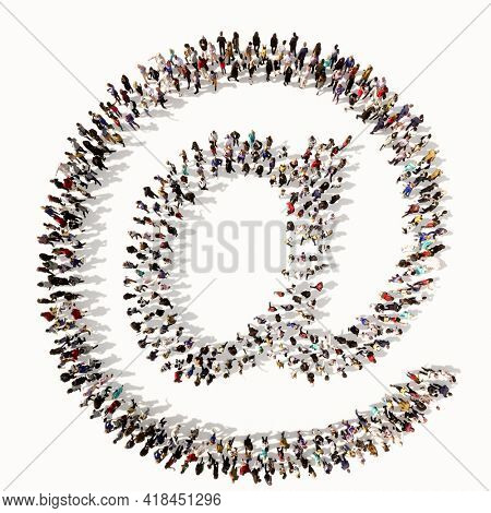 Concept or conceptual large community of people forming the mail font. 3d illustration metaphor for unity and diversity, humanitarian, teamwork, cooperation, education, friendship and community