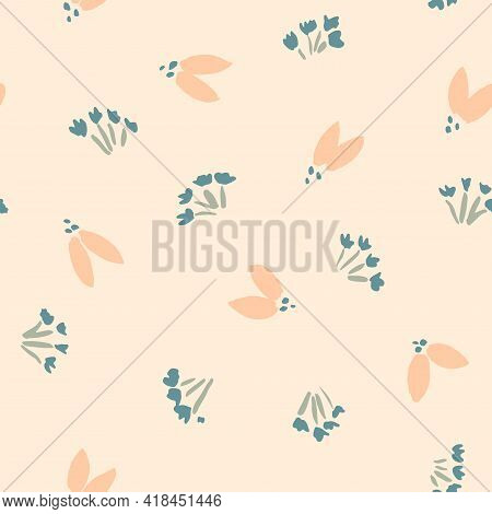 Flowers And Flies Seamless Vector Pattern. A Cute Garden Of Flower With A Two Petal Flower That Look