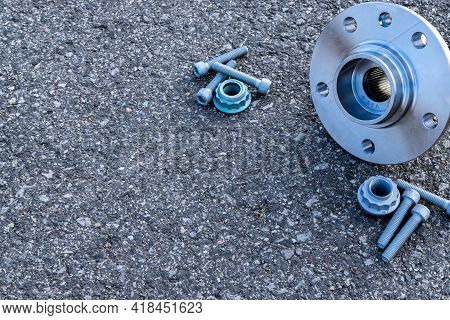 Part Isolated. Set Of New Metal Car Part. Auto Motor Mechanic Spare Or Automotive Piece Isolated On