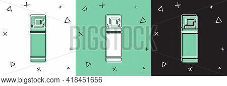 Set Shaving Gel Foam Icon Isolated On White And Green, Black Background. Shaving Cream. Vector