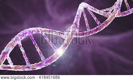 Genetic Mutation, Conceptual 3d Illustration. Double Stranded Dna Molecule With Mutation In A Gene.