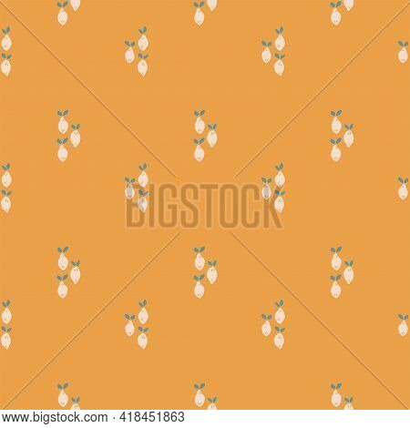 Lemon Lines Fruity Seamless Vector Pattern. Cute Batches Of Three Small Lemons Placed In A Stripe Pa