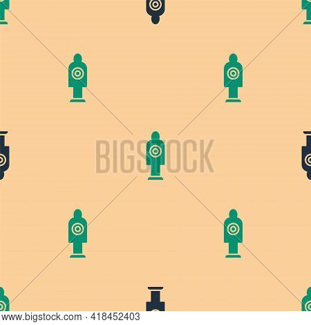 Green And Black Human Target Sport For Shooting Icon Isolated Seamless Pattern On Beige Background.
