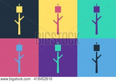 Pop Art Marshmallow On Stick Icon Isolated On Color Background. Vector
