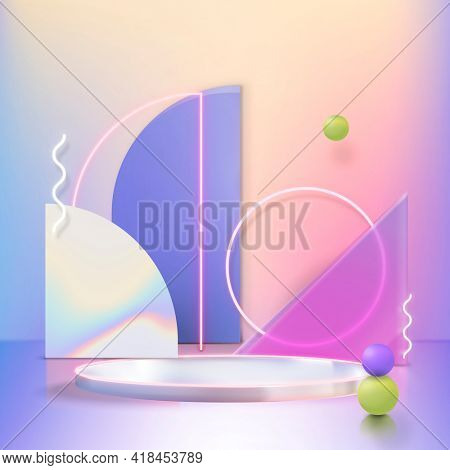 3D product display with podium and pink neon rings