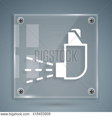 White Inhaler Icon Isolated On Grey Background. Breather For Cough Relief, Inhalation, Allergic Pati