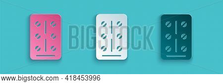 Paper Cut Pills In Blister Pack Icon Isolated On Blue Background. Medical Drug Package For Tablet, V