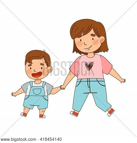 Sister Holding Her Little Brother By The Hand Walking As Family Relations Vector Illustration