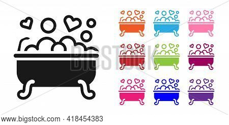 Black Romantic In Bathroom Icon Isolated On White Background. Concept Romantic Date. Romantic Bathro