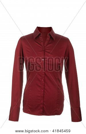 Hollow Red Blouse With Long Sleeves, Isolated On White Background