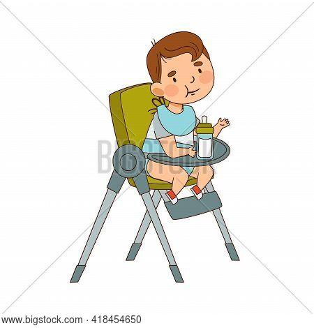 Cute Infant Boy In Diaper Wearing Bib Sitting On Highchair Drinking Milk Vector Illustration