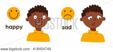 Little African American Boy With Different Facial Expressions. Happy And Sad Child. Bad And Good Moo