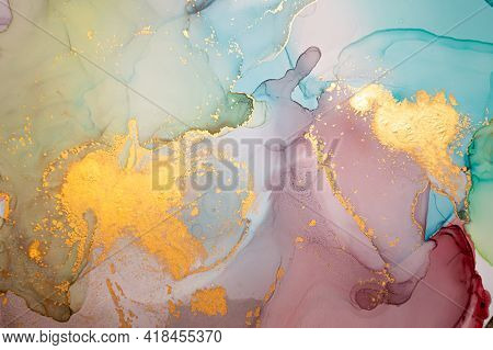 Golden Abstract Background Liquid. Alcohol Ink On Paper. Luxury Wave Illustration. Fluid Marble Pain