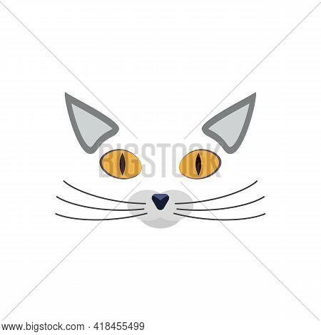 Cat Face, Nose And Whiskers With Ears Vector Clipart And Drawing. Isolated Silhouette With Heart On