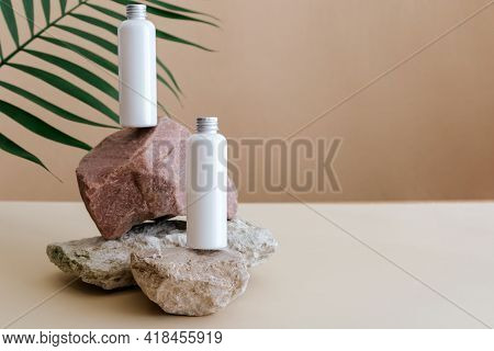 Natural Beauty Cosmetic Bottles White Mockup Cosmetic Product For Skincare On Stone Pedestal With Pa