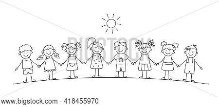 Funny Kids Holding Hands. Happy Doodle Children. Friendship Concept. Vector Illustration In Hand Dra