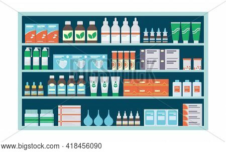 Pharmacy Shelves With Medicines, Tablets, Ointments, Vitamins And Antibiotics. Store Shelf With Medi