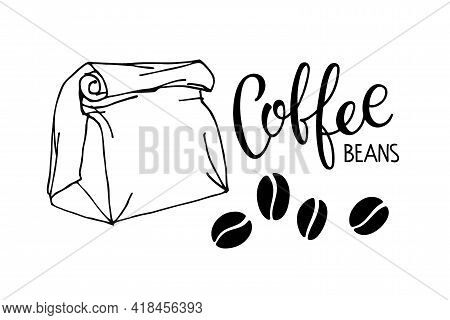 Environmentally Friendly Paper Bag With Coffee Beans And Coffee Beans Calligraphy Lettering. Set Of