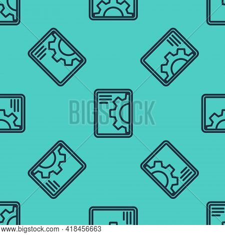 Black Line Software, Web Development, Programming Concept Icon Isolated Seamless Pattern On Green Ba