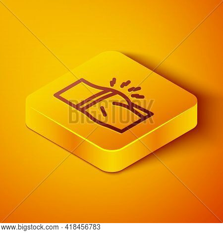 Isometric Line Abdominal Bloating Icon Isolated On Orange Background. Constipation Or Diarrhea. Yell