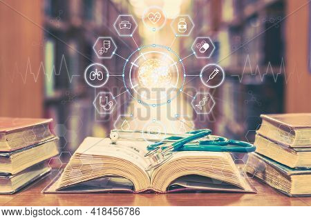 Medical School Education With Telemedicine And Telehealth Science Study, Ai Lab Research Concept Wit