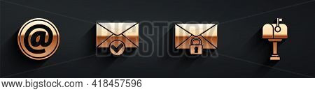Set Mail And E-mail, Envelope And Check Mark, Mail Message Lock Password And Mail Box Icon With Long