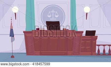 Empty Courtroom Interior, Banner In Flat Cartoon Design. Judge Workplace, Tribune, Secretary Table,