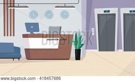 Reception Waiting Hall Interior, Banner In Flat Cartoon Design. Lobby In Modern Office Or Hotel, Rec