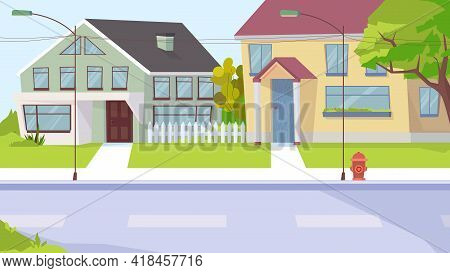 Country Street View, Banner In Flat Cartoon Design. Village Landscape With House Buildings, Sidewalk