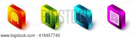 Set Isometric Fire Hose Reel, Medical Hospital Building, First Aid Kit And Fire Hose Cabinet Icon. V