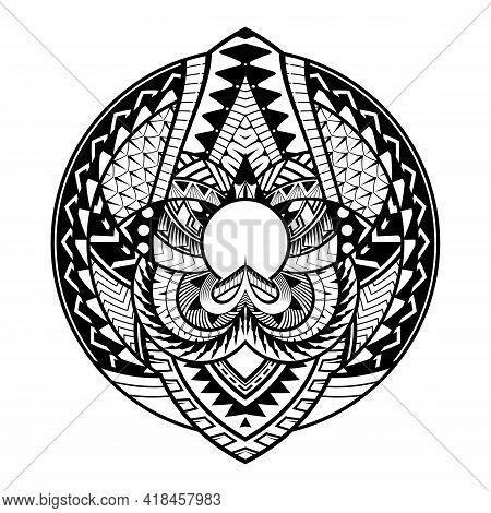 Maori Circle Tattoo Shape, Tribal Tattoo Design Pattern Polynesian Mandala Vector