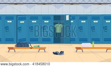 Locker Room Interior, Banner In Flat Cartoon Design. Sports Center Row Of Lockers For Storing Clothe